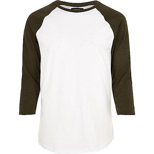 T-shirt blanc à manches longues raglan