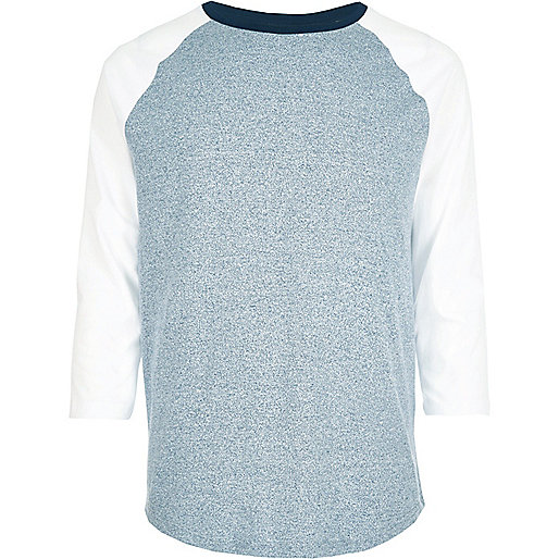 Blue raglan long sleeve T-shirt