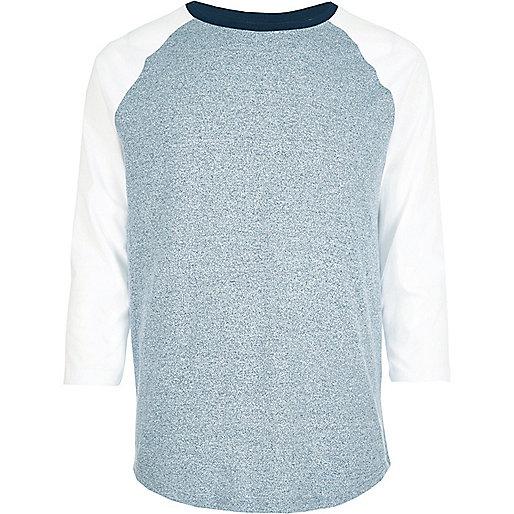 Blaues, langärmliges Raglan-T-Shirt
