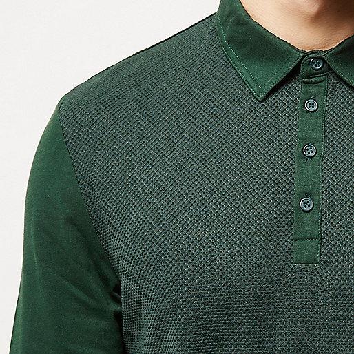 Khaki textured long sleeve polo shirt