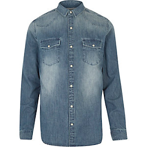 Mid blue wash Western denim shirt
