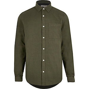 Green contrast lined shirt