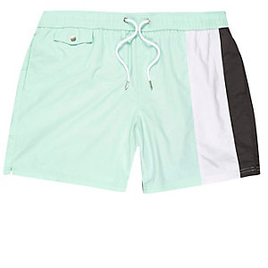 Mint stripe swim trunks