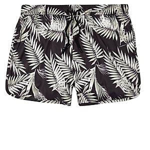 Brown palm tree print runner swim shorts