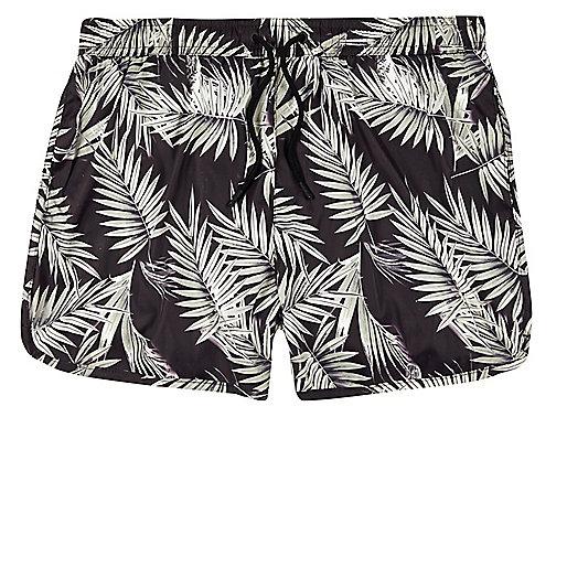 Brown palm tree print runner swim trunks