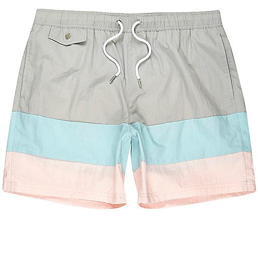 Grey ice-cream stripe swim shorts