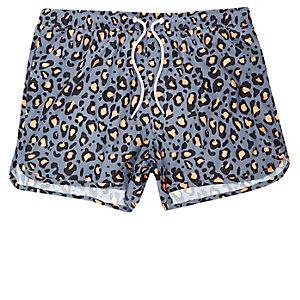 Blue animal print runner swim trunks