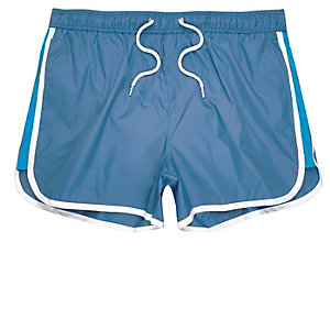 Navy color block runner swim trunks