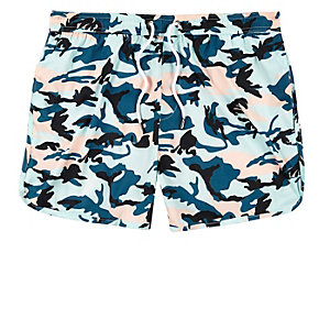 Turquoise camo runner swim trunks