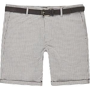 Grey dogtooth belted bermuda shorts