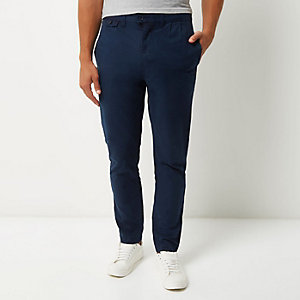 Navy tapered peg pants