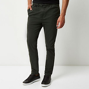 Dark green peg pants