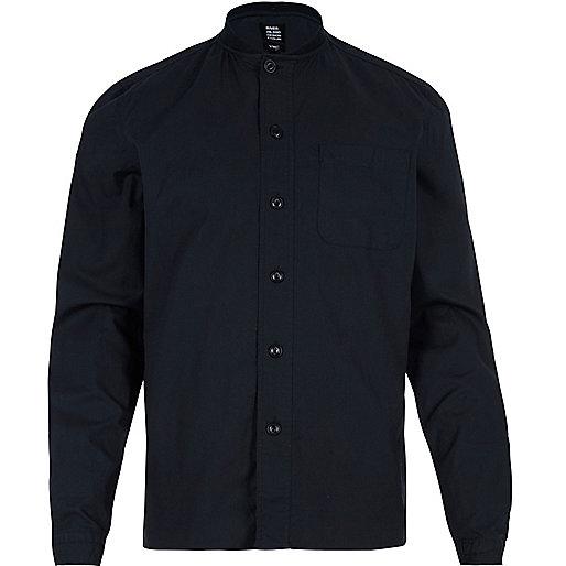 Navy YMC ribbed collar shirt