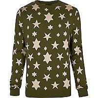 Green YMC star print knitted sweater