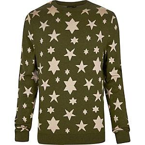 Green YMC star print knitted jumper