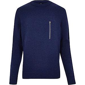 Blue YMC zip front jumper