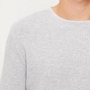 Grey longline textured tunic