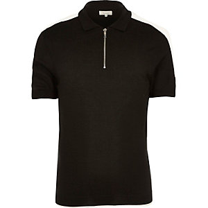 Black zipped polo shirt