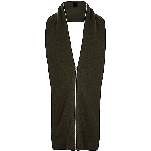 Dark green YMC zip scarf
