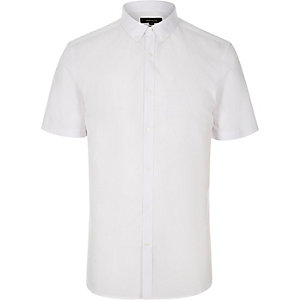 White slim fit short sleeve shirt