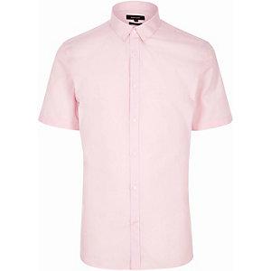 Pink slim fit short sleeve shirt
