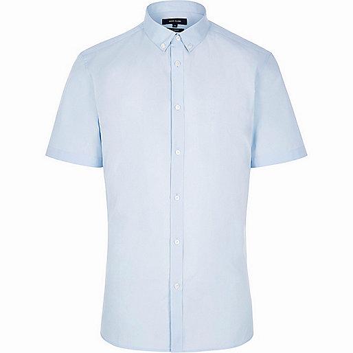Blue slim fit short sleeve shirt