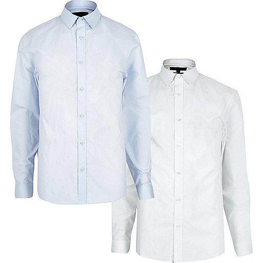 Slim Fit Hemden in Weiß und Blau, Multipack