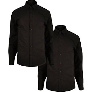 Black slim fit shirts pack