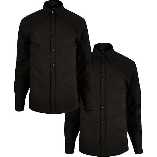 Black slim fit shirts multipack