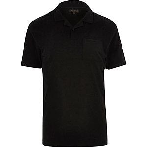 Black revere collar polo shirt