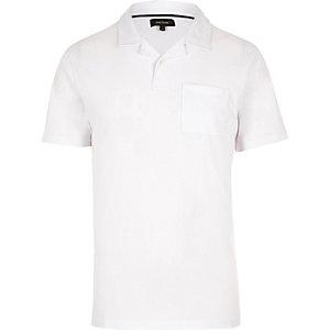 White revere collar polo shirt