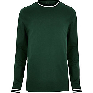 Dark green sporty trim sweater