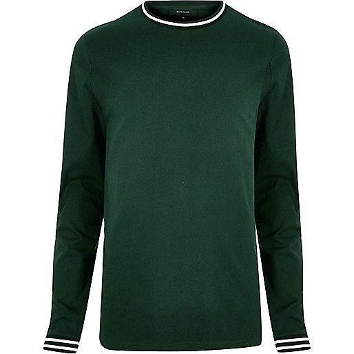 Dark green sporty trim sweater