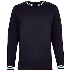 Navy sporty trim sweater