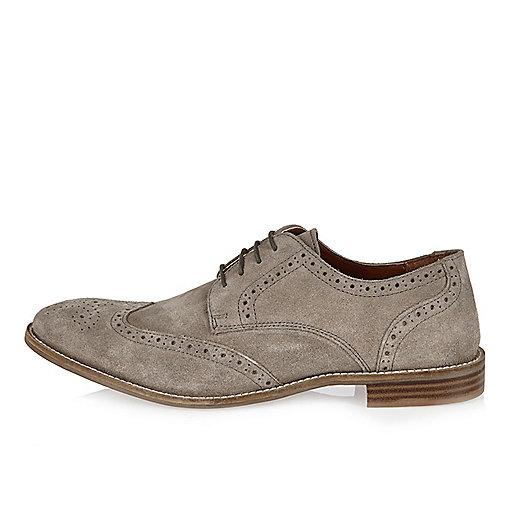 Chaussures richelieu en daim gris clair