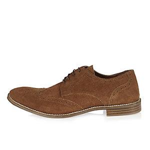 Chaussures richelieu en daim marron