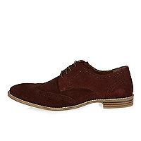 Chaussures richelieu en daim rouge foncé