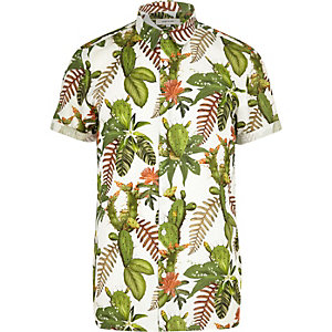 Green cactus flower print short sleeve shirt