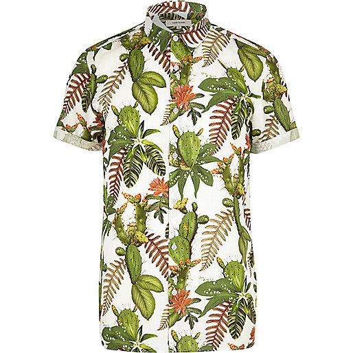 Chemise à imprimé à fleurs avec cactus verte à manches courtes