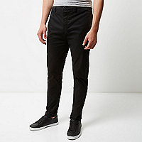 Black tapered chino pants