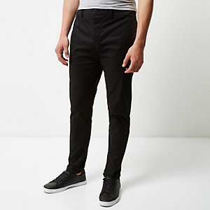 Black tapered chino trousers