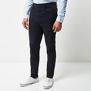 Navy tapered chino trousers