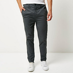 Dark grey tapered chino pants