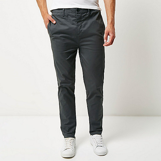Dark grey tapered chino pants