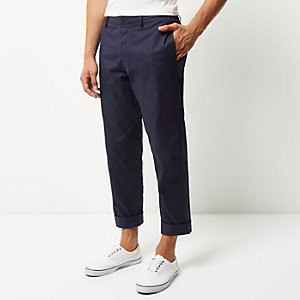 Blue wide leg chino trousers