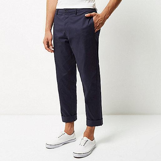 Blue wide leg chino pants