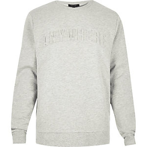 Grey embossed slogan print sweatshirt