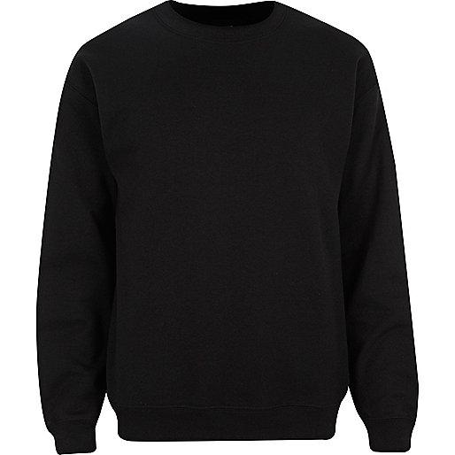 Schwarzes Sweatshirt mit Rundhalsausschnitt