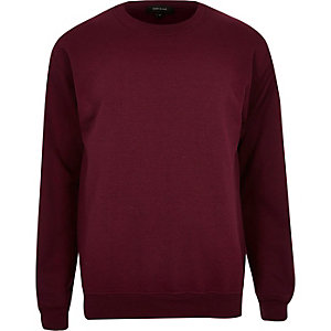 Dark red crew neck sweatshirt
