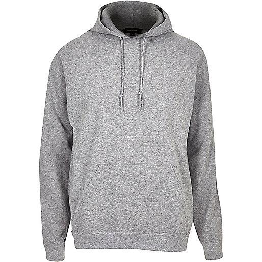 Sweat à capuche en coton gris